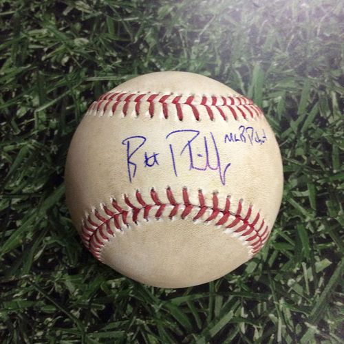 Autographed and Game-Used Baseball from Brett Phillips' MLB Debut Game