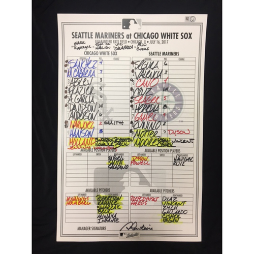 Photo of Large Game-Used Lineup Card from July 16, 2017: Chicago White Sox vs. Seattle Mariners