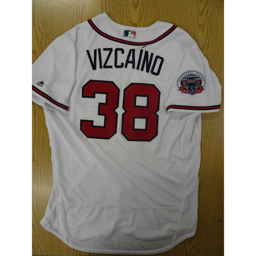 Photo of Arodys Vizcaino Game-Used Los Bravos Jersey - Worn 9/17/17 at SunTrust Park