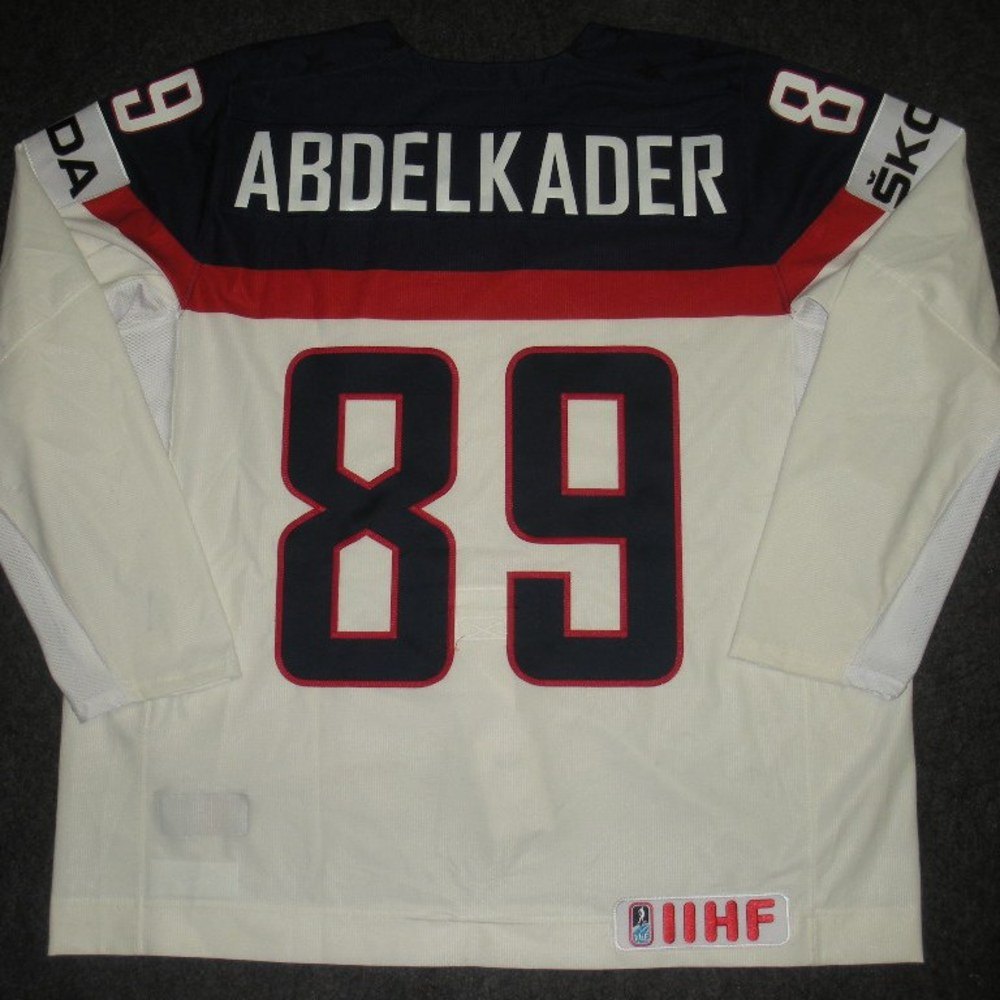 Justin Abdelkader - 2014 IIHF Mens World Championship - Team USA White Game-Worn Jersey - Worn on 5/9/14, 5/15/14 and 5/20/14