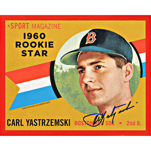 Photo of Carl Yastrzemski Autographed Red Sox Jumbo Card - 1960 Topps Chrome Rookie Red Numbered to 5