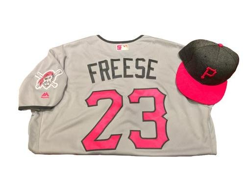 Photo of David Freese Game-Used Mother's Day Jersey and Hat
