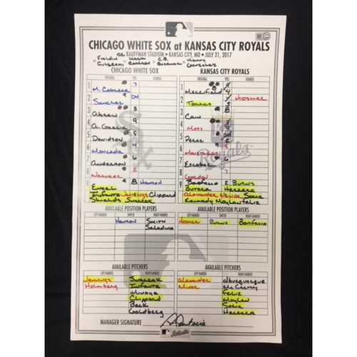 Photo of Large Game-Used Lineup Card from July 21, 2017: Chicago White Sox vs. Kansas City Royals