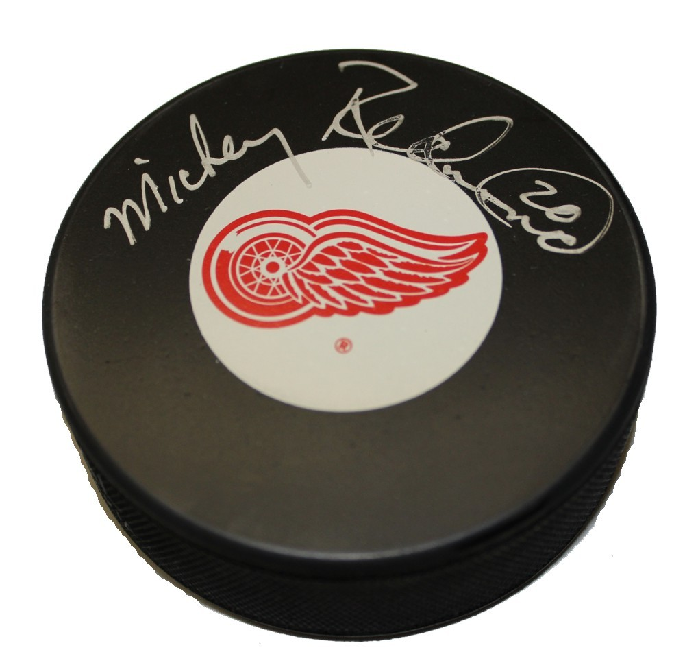 Mickey Redmond Autographed Detroit Red Wings Puck