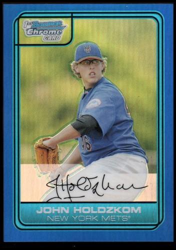 Photo of 2006 Bowman Chrome Draft Draft Picks Blue Refractors #21 John Holdzkom