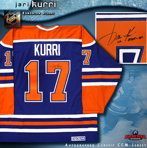 JARI KURRI Signed Blue Edmonton Oilers CCM Jersey
