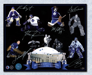Toronto Maple Leaf Gardens Autographed Goalie Legends Collage 8x10 Photo *Johnny Bower, Curtis Joseph, Felix Potvin, etc*