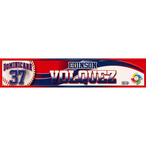 Photo of 2013 World Baseball Classic: Edinson Volquez (DR) Game-Used Locker Name Plate