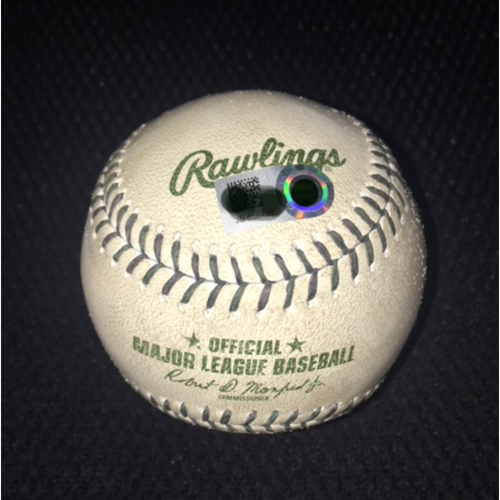 Green Laced Game-Used Baseball from May 29, 2017