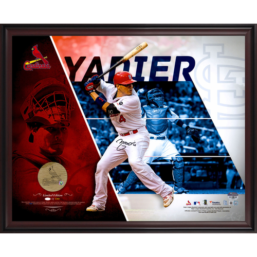 """Photo of Yadier Molina St. Louis Cardinals Framed Autographed 16"""" x 20"""" Collage Photograph with a Piece of Engraved Game-Used Bat - #150 In a Limited Edition of 150"""