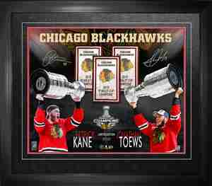 Jonathan Toews & Patrick Kane - Dual-Signed & Framed 16x20 Chicago Blackhawks 2015 Stanley Cup Collage - Limited Edition /215