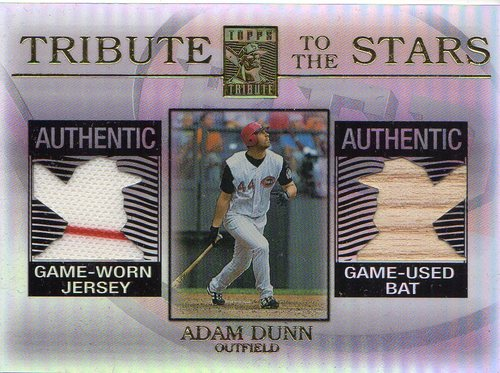 Photo of 2003 Topps Tribute Contemporary Tribute to the Stars Dual Relics #AD Adam Dunn Bat-Jsy