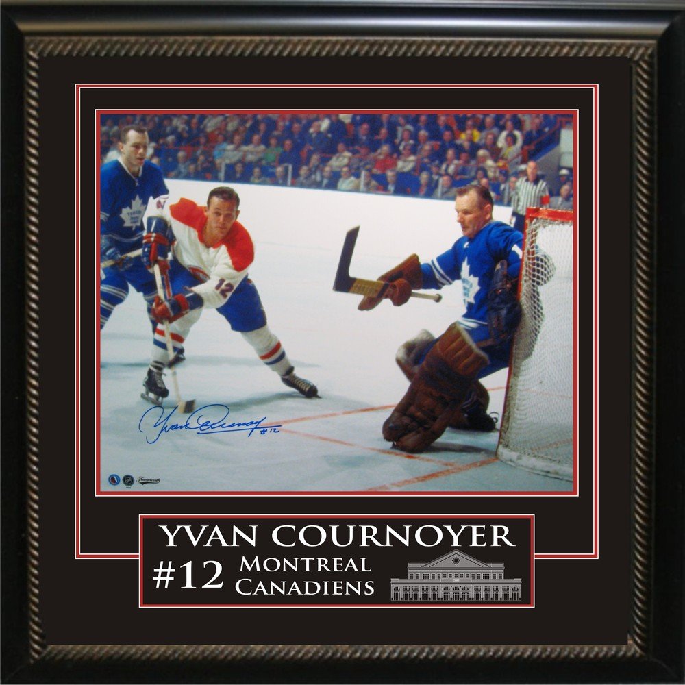 Yvan Cournoyer - Signed & Framed 16x20 Etched Mat - Montreal Canadiens vs Bower - 55th ANNIVERSARY OF THE OPENING OF THE HHOF (August 26th, 1961)