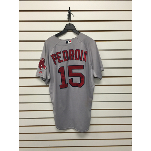 Photo of Dustin Pedroia Game-Used 2015 Father's Day Road Jersey