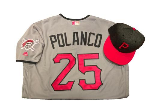 Photo of Gregory Polanco Game-Used Mother's Day Jersey and Hat