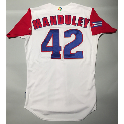 Photo of 2017 WBC: Cuba Game-Used Home Jersey, Manduley #42