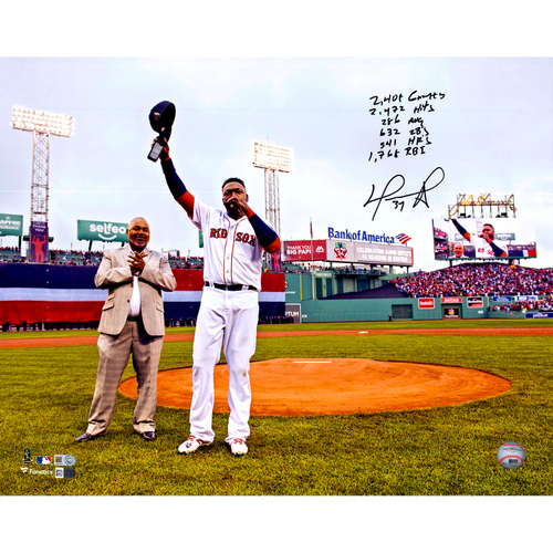 """Photo of David Ortiz Boston Red Sox Autographed 16"""" x 20"""" Final Regular Season Game Photograph with Career Regular Season Stats Inscriptions - #34 In a Limited Edition of 34"""