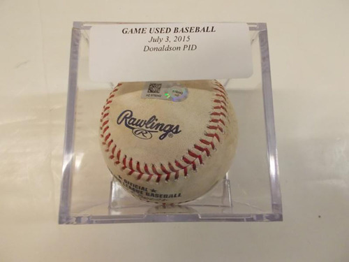 Photo of Game-Used Baseball: 2015 MVP Josh Donaldson Pitched in Dirt