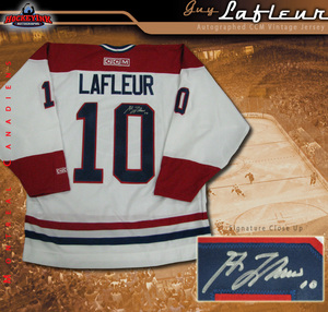 GUY LAFLEUR Signed White Montreal Canadiens Jersey