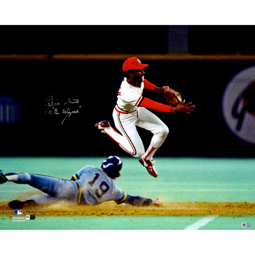 """Photo of Ozzie Smith St. Louis Cardinals Autographed 16"""" x 20"""" Double Play Photograph with The Wizard Inscription"""