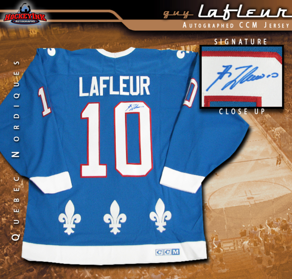 GUY LAFLEUR Signed Quebec Nordiques Blue CCM Jersey