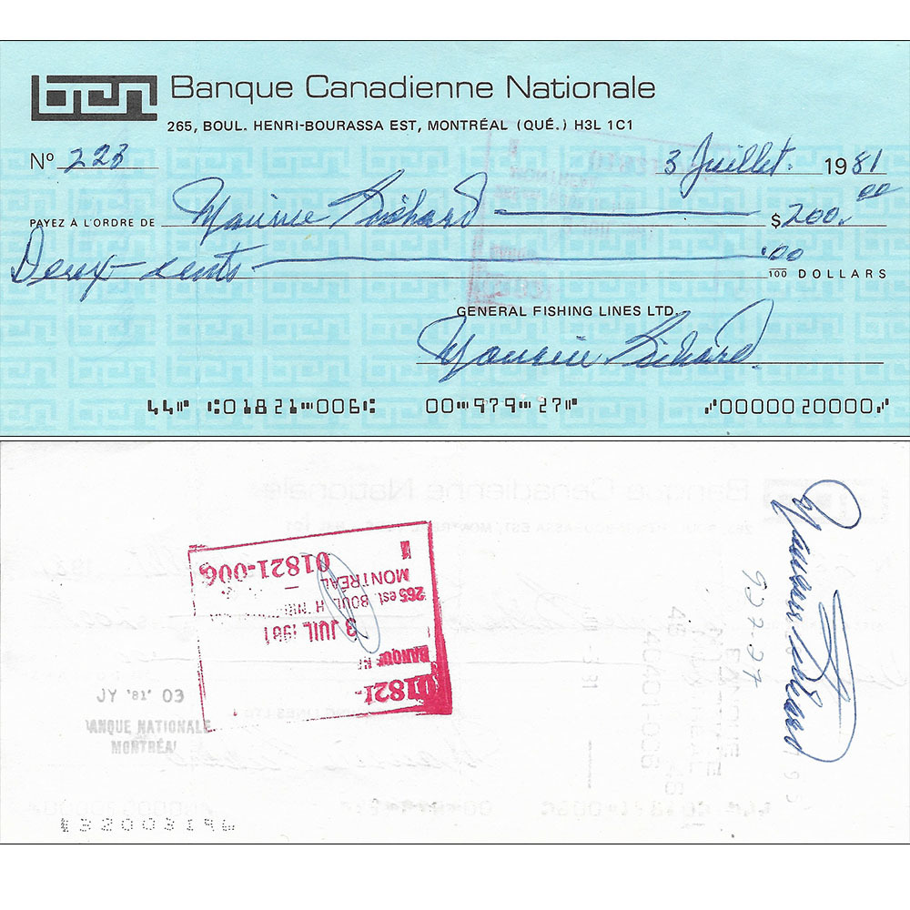 Maurice Richard Triple-Signed Check