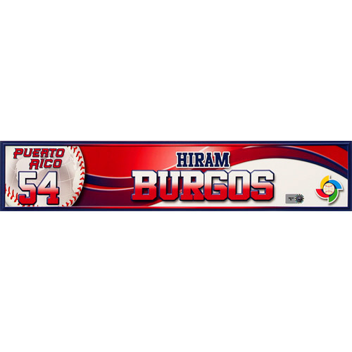 Photo of 2013 World Baseball Classic: Hiram Burgos (PR) Game-Used Locker Name Plate