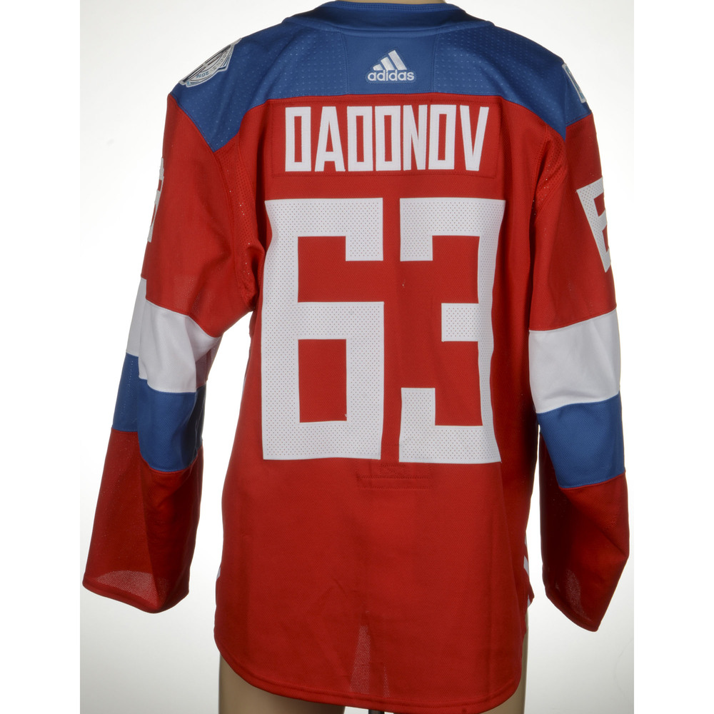 Evgeny Dadonov Game-Worn 2016 World Cup of Hockey Team Russia Jersey, Worn Against Team Finalnd On September 22nd