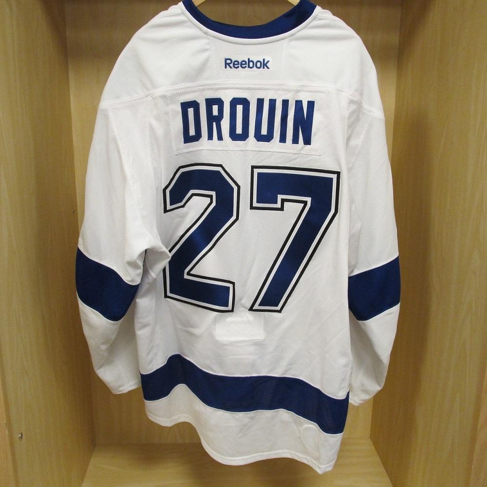 Jonathan drouin jersey - Jonathan Drouin White Game Worn 2015 Stanley Cup Final Jersey Tampa Bay Lightning