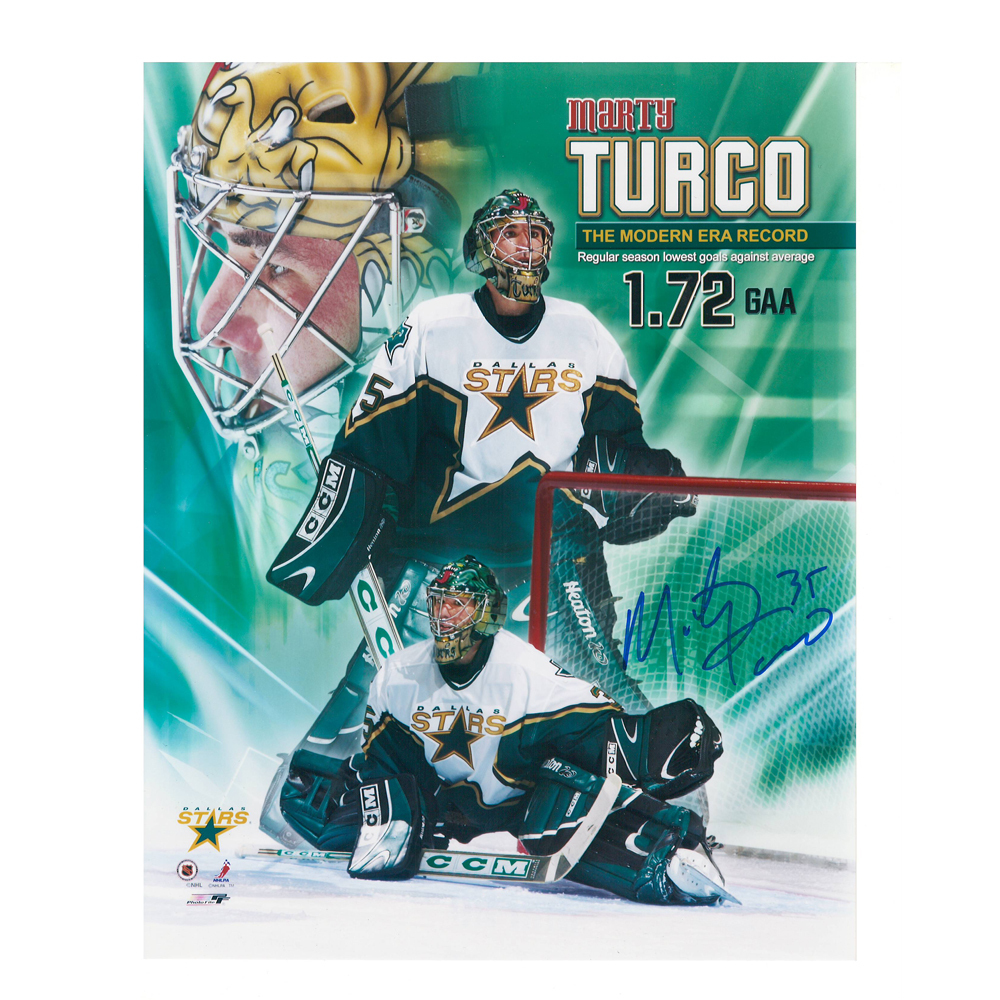 MARTY TURCO Signed Dallas Stars GAA Record 8 X 10 Photo - 70231