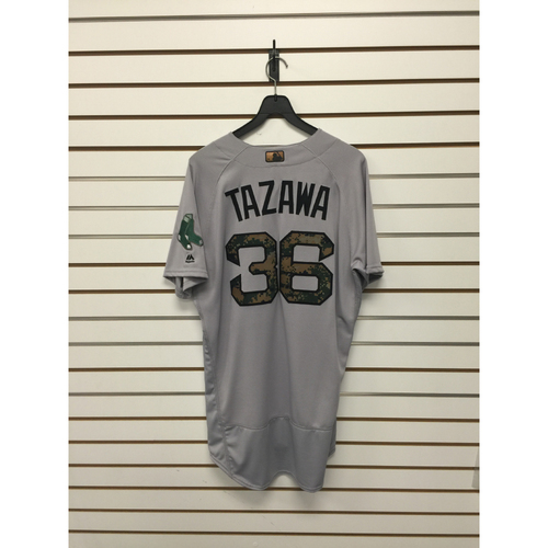 Photo of Junichi Tazawa Game-Used 2016 Memorial Day Road Jersey