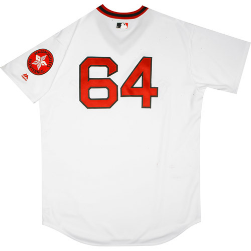 Photo of Boston Red Sox 1975 Throwback Complete Game-Used Uniform Set - Bryce Brentz