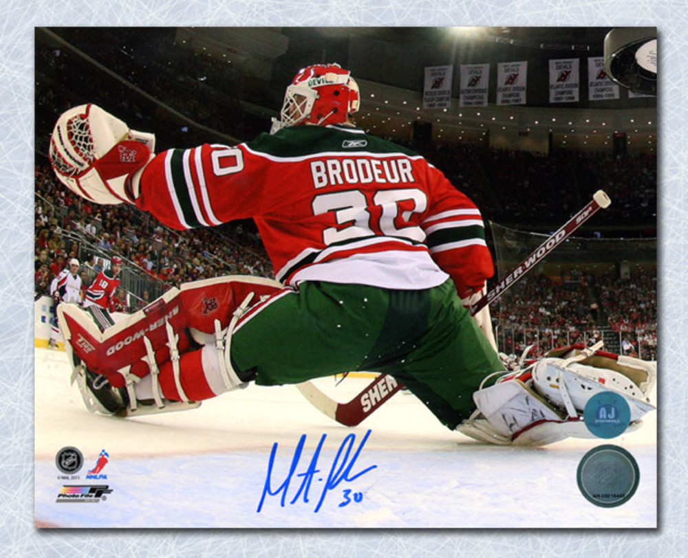 Martin Broduer New Jersey Devils Autographed Retro Jersey Net Cam 8x10 Photo