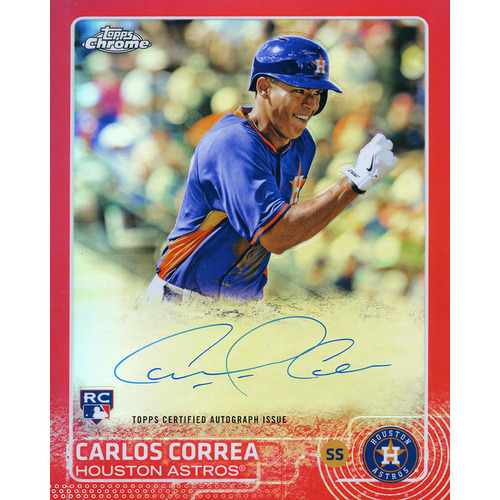 Photo of Carlos Correa Autographed '2015 Topps Chrome Rookie' 8x10 Jumbo Card - Red Numbered to 5