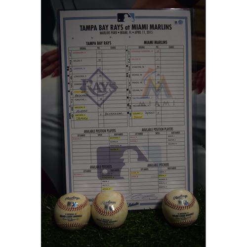 Photo of Line-Up Card and Game Used Baseballs: Tampa Bay Rays at Miami Marlins