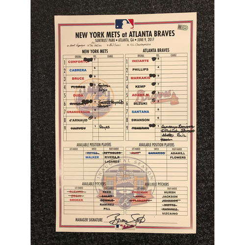 Photo of Game-Used Lineup Card - 6/9/17 - Mets at Braves - Today Only $35!