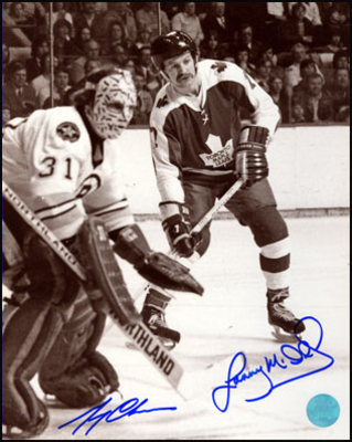 LANNY MCDONALD vs GERRY CHEEVERS Dual SIGNED Maple Leafs & Bruins 8x10 Photo