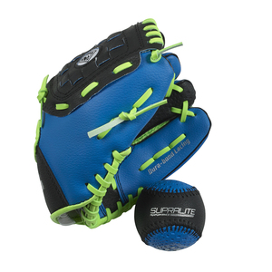 Kids Grip Tech Glove/Ball Set Right Hander Blue/Green by Franklin
