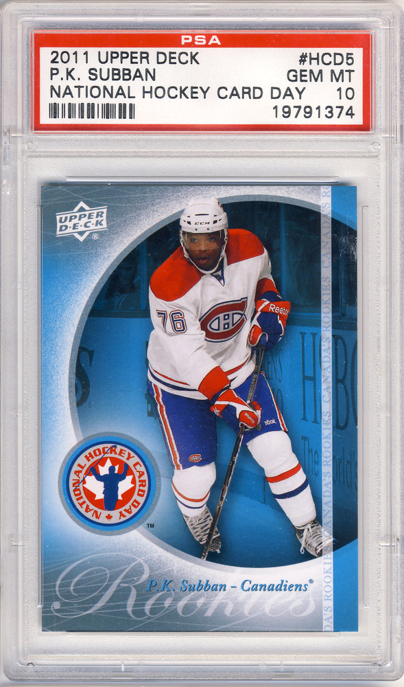 2011 UD #HCD5 National Hockey Card Day P.K. SUBBAN Montreal Canadiens Graded Rookie Card - GEM-MT PSA 10