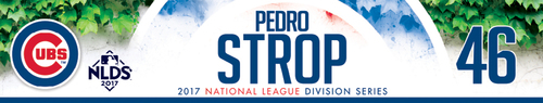 Photo of Pedro Strop Game-Used Locker Nameplate -- NLDS Game 3 -- Nationals vs. Cubs -- 10/9/17