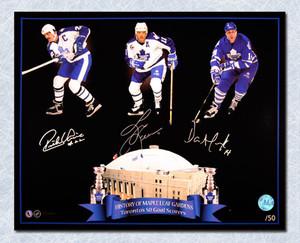 Toronto Maple Leafs 50 Goal Men Andreychuk-Vaive-Leeman Signed 16x20 Photo /50