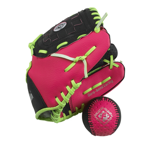 Kids Grip Tech Glove/Ball Set Right Hander Pink/Green by Franklin