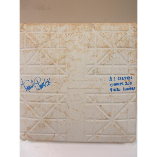 Photo of Miguel Cabrera Autographed Game-Used Base: AL Central Champs 2011 Final Innings