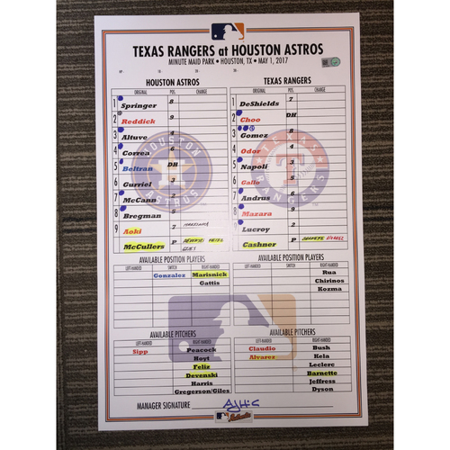 Photo of Astros vs Rangers, 5/1/17 Game-Used Lineup Card