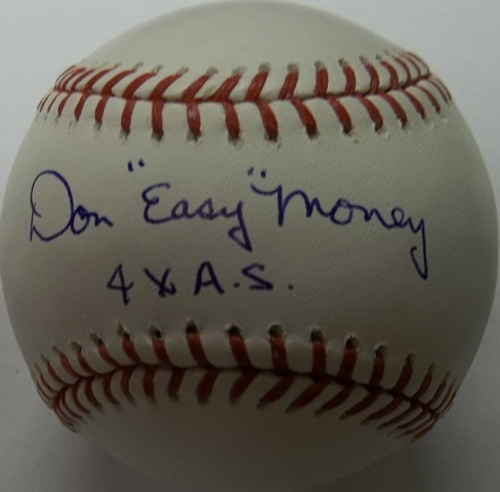"Photo of Don 'Easy' Money ""4x A.S."" Autographed Baseball"