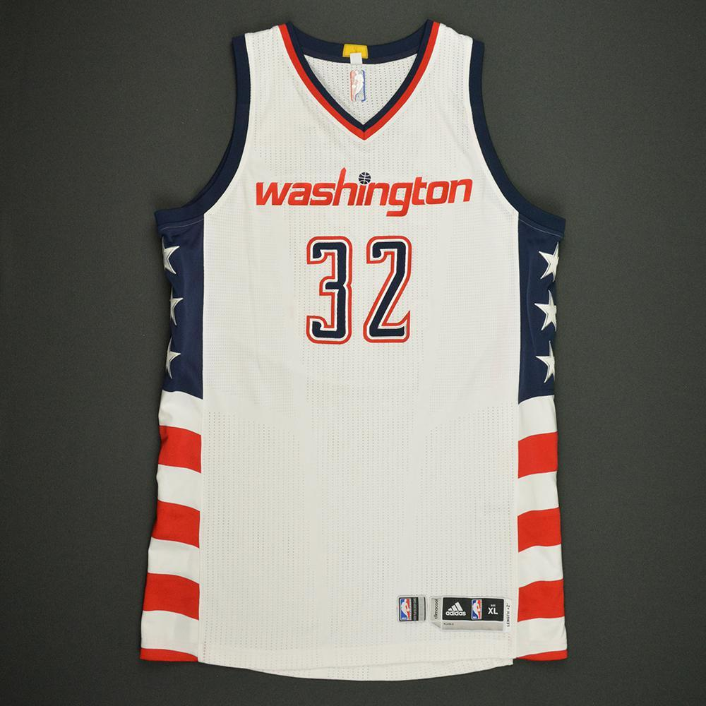 Daniel Ochefu - Washington Wizards -White Playoffs Game-Worn Jersey - Dressed, Did Not Play - 2016-17 Season