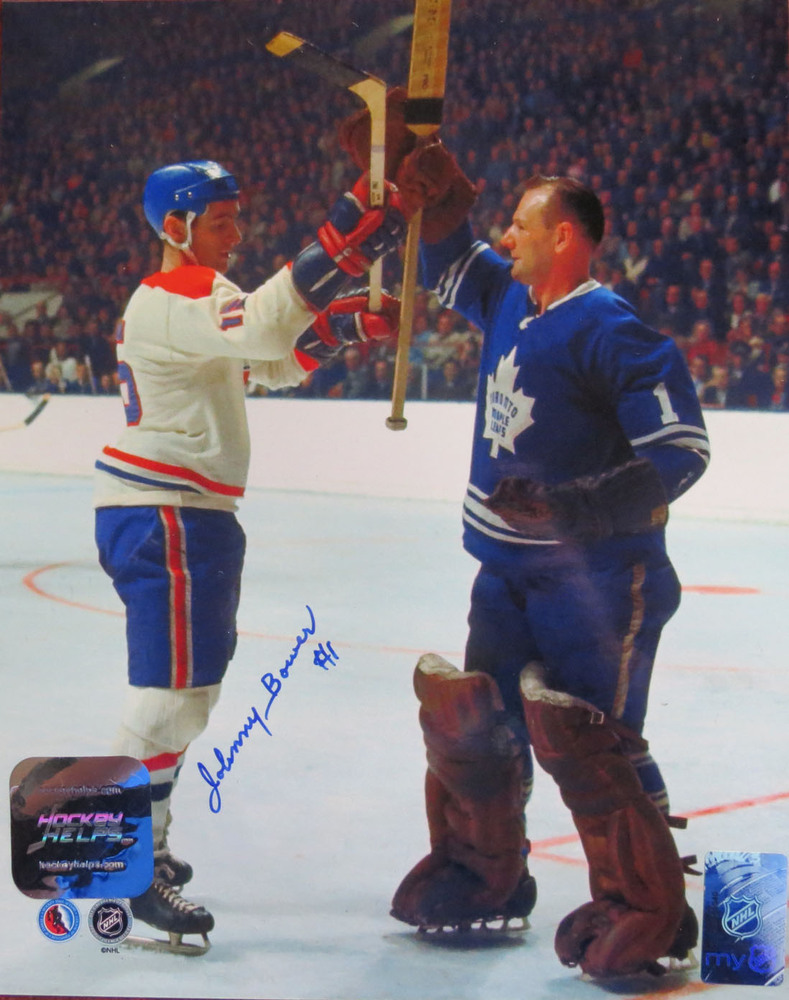 Johnny Bower Signed Toronto Maple Leafs STICKS UP 8x10