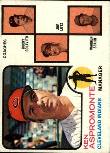 Photo of 1973 Topps #449A Ken Aspromonte MG/Rocky Colavito CO/Joe Lutz CO/Warren Spahn CO/Spahn's right/ear p