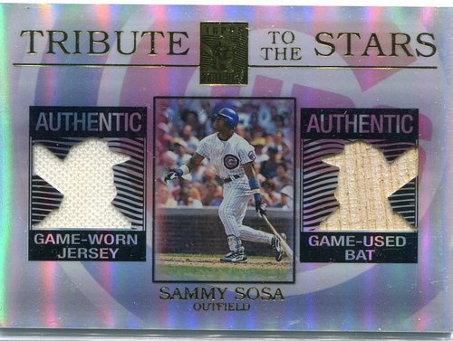 Photo of 2003 Topps Tribute  to the Stars Dual Relics Sammy Sosa Bat & Jersey