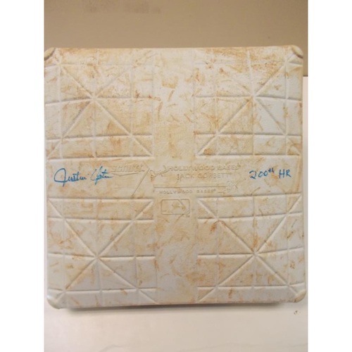 Photo of Justin Upton Autographed Game-Used Base: 200th Career Home Run